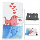 DULISIMAI Flip-open PU Leather Case w/ Stand / Card Slots for Nokia Lumia 625 - White + Red