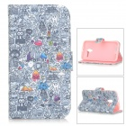 "IKKI ""Find Your Sister"" Game Patterned PU Leather Full Body Case w/ Stand for MOTO X - White + Grey"