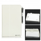 Lichee Pattern Flip-open PU Leather Case + Stylus for Samsung Galaxy Tab 4 8.0 T330 + More - White
