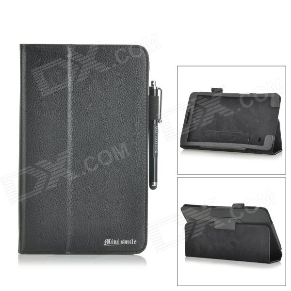 Lichee Pattern Flip-open PU Leather Case + Stylus for Samsung Galaxy Tab 4 8.0 T330 + More - Black