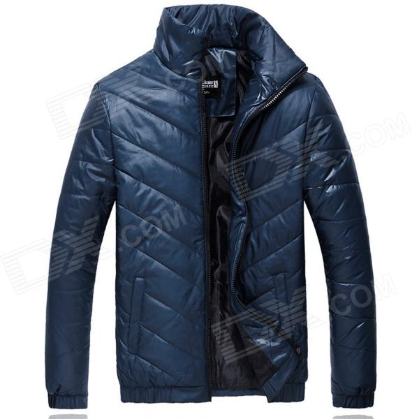 MY110 Men's Fashionable Polyester Winter Warm Zippered Coat - Deep Blue (XL)