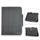 Lichee Pattern Flip-open PU Leather Case + Stylus for Samsung Galaxy Tab 4 10.1 T530 + More - Black
