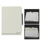 Lichee Pattern Flip-open PU Leather Case + Stylus for Samsung Galaxy Tab 4 10.1 T530 + More - White