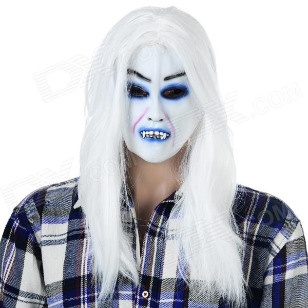 Halloween Scary White Hair Shiroki Majo Face Mask - White + Multi-Color halloween scary ghost face mask white multi color
