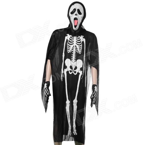 Halloween Skeleton Style Cosplay Costume + Face Mask + Gloves Set - Black + White