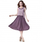 Fashionable Chiffon + Modal Round Neck Sleeveless Dress - Purple (XL)