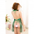 Fashionable Sexy Tassel Style Dacron Sleep Dress w/ T-Back - Green