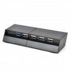 USB 3.0 + 4-USB 2.0 Hub w/ Charging Cable for PS4 - Black + Grey