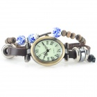 A015 Women's PU Band Roman Numeral Analog Quartz Bracelet Watch - Brown + Bronze (1 x 377)