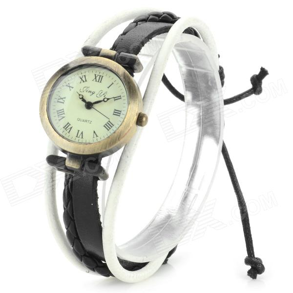 Jing Yi B006 Women's PU Band Roman Numeral Analog Quartz Bracelet Watch - Black + White (1 x 377)