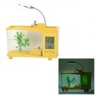 Lileng 920 3W 20lm 3500K 13-LED White USB Mini Fish Tank Aquarium w/ Calendar / Alarm - Yellow