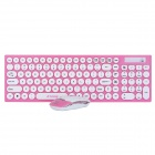 R.horse RH-9350 2.4GHz Wireless 105-Key Keyboard + Optical Mouse Set - Pink + White