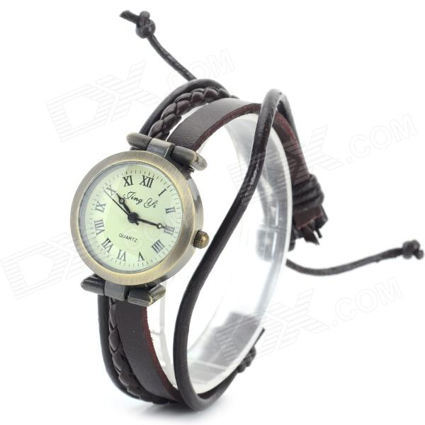 Jing Yi Women's PU Band Roman Numeral Analog Quartz Bracelet Watch - Bronze + Brown (1 x 377)
