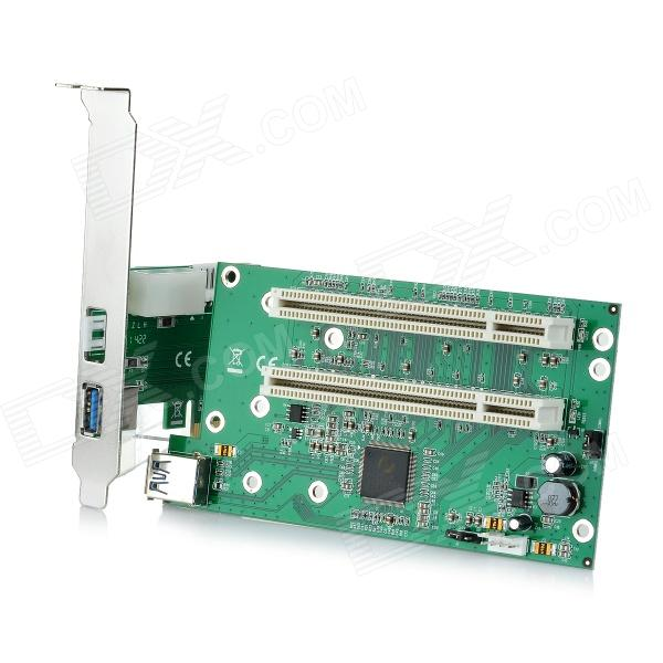 PCI-Express to 2X PCI Adapter Card - Green + Black mosunx advanced for sata power cable 15 pin to 6 pci express pci e graphics converter adapter video card 1pc