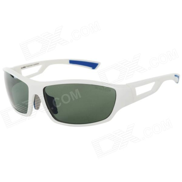 Kallo TR90 Frame Resin Lens UV400 Protection Polarized Sport Sunglasses - White + Blue