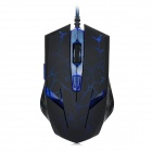 RH2500 USB 2.0 Wired 3200 / 2400 / 1600 / 800dpi LED Gaming Mouse - Blue + Black (135cm-Cable)