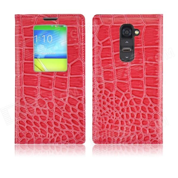 Angibabe Crocodile Pattern Ultral Thin PU Leather Case w/ View Window for LG G2 - Deep Pink angibabe crocodile pu ultrathin view window smart leather case for lg g3 brown