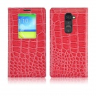 Angibabe Crocodile Pattern Ultral Thin PU Leather Case w/ View Window for LG G2 - Deep Pink