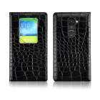 Angibabe Crocodile Pattern Ultral Thin PU Leather Case w/ View Window for LG G2 - Black