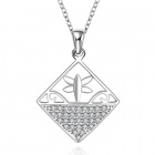 Stylish Shiny Crystal Studded Hollowed Pendant Silver Plating Necklace - Silver