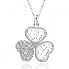 Stylish Shiny Crystal Studded Clover Pendant Silver Plating Necklace - Silver