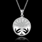 Stylish Shiny Crystal Studded Beauty Face Pendant Silver Plating Necklace - Silver