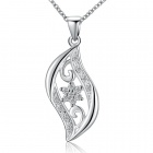 Stylish Shiny Crystal Studded Pendant Silver Plating Necklace - Silver