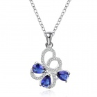 Stylish Shiny Crystal Studded Winding Pendant Silver Plating Necklace - Silver + Blue