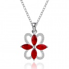 Stylish Shiny Red Crystal Studded Flower Pendant Silver Plating Necklace - Silver + Red