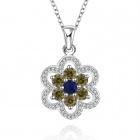 Stylish Shiny Crystal Studded Flower Pendant Silver Plating Necklace - Silver + Yellow + Blue