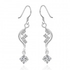 Fashionable Elegant Shiny Crystal Studded Pendant Silver Plating Earring - Silver (2 PCS)