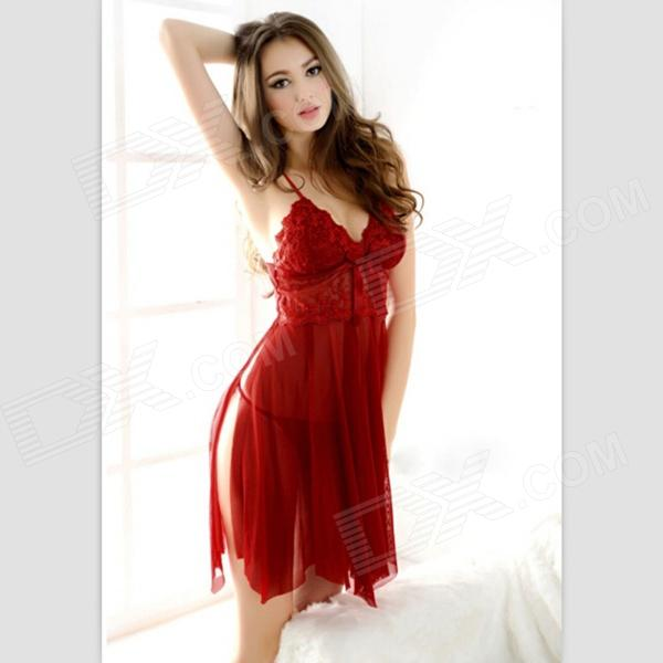 Sexy Luring See-through Braces Slep Dress Lingerie Set - Red
