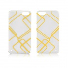 Angibabe Plaid Pattern 0.3mm Ultra-thin Soft TPU Back Case for IPHONE 4 / 4S - Transparent + Yellow