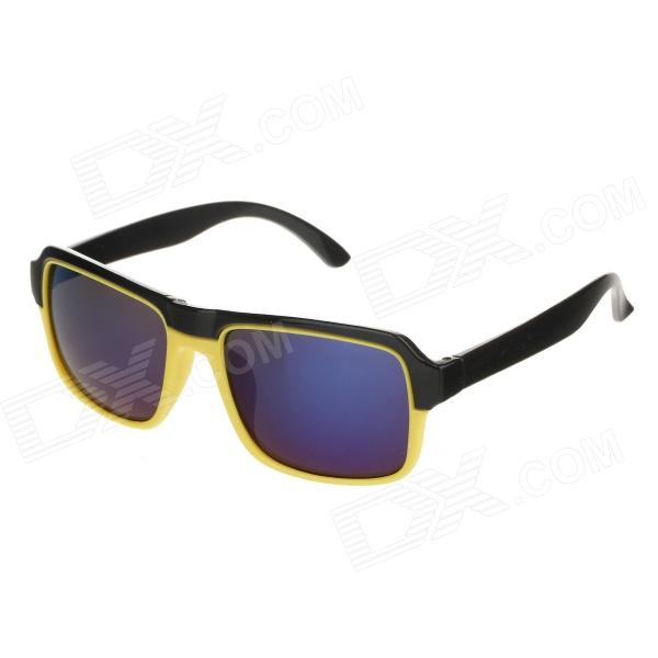 BJ5007 Fashion Plastic Frame Resin Lens UV400 Protection Sunglasses - Black + Yellow fashion uv400 protection round shape resin lens sunglasses wine red