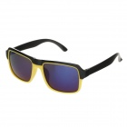 BJ5007 Fashion Plastic Frame Resin Lens UV400 Protection Sunglasses - Black + Yellow