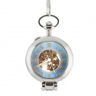 ORKINA W117 Retro Stainless Steel Analog Manual Mechanical Pocket Watch - Silver + Blue