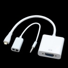 CHEERLINK Micro HDMI Male to VGA Female Cable + Bisected Audio Cable Set - White