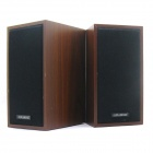 NINTAUS JT041 Portable USB Powered Wood Multimedia Music Speakers for PC / Laptop - Brown