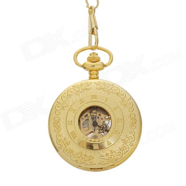 ORKINA Retro Printing Stainless Steel Analog Manual Mechanical Pocket Watch - Golden artdeco карандаш для век kajal liner тон 02 1 1 г
