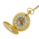ORKINA Retro Printing Stainless Steel Analog Manual Mechanical Pocket Watch - Golden