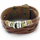 Men's Fashionable Retro PU Leather Bracelet - Brown