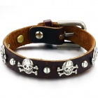 Men's Cool Skull Decorated PU Leather Bracelet - Brown
