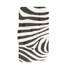 Kinston Zebra Pattern PU Leather Full Body Case with Stand for Motorala Moto X - White + Black