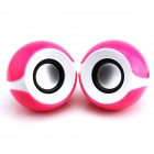 NINTAUS JT014 Portable USB Powered 3.5mm Wired Desktop Speaker Set for PC / Laptop - Pink + White