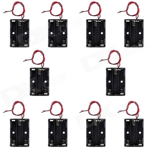 CM01 DIY Capless 3-AAA Battery Holder Cases Boxes w/ Lead Line - Black (10 PCS)