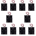CM01 DIY Capless 3-AA Battery Holder Cases Boxes w/ Lead Line - Black (10 PCS)