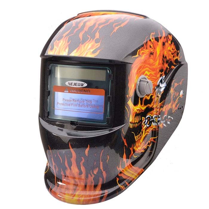 NEJE Flame Skeleton Solar Auto Darkening UV/IR Protection Welding Helmet Goggles - Black + Orange