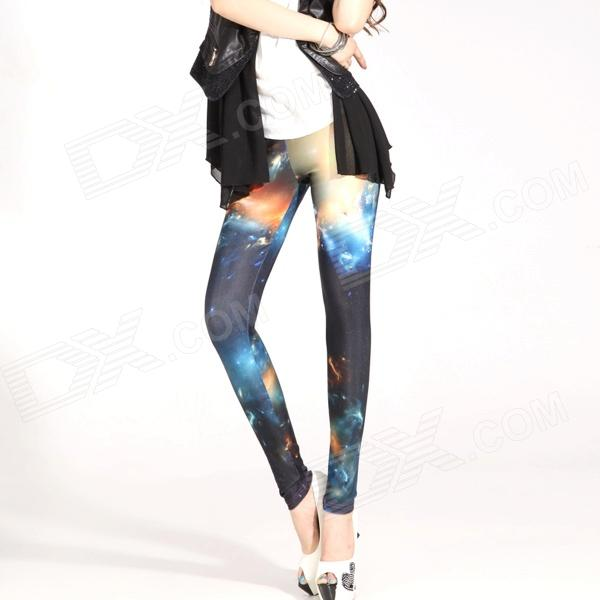 Elonbo Y1R4 Starry Sky Pattern Digital Painting Tight Leggings for Women - Black + Multicolored