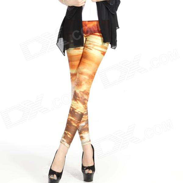 Elonbo Y1R8 Sunset Cloud Pattern Digital Painting Tight Leggings for Women - Yellow + Multicolored