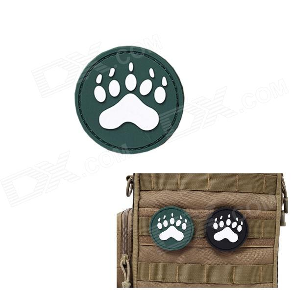 MK Round Dog Footprints Tactical Velcro Sticker Backpack Armband - Green (S)